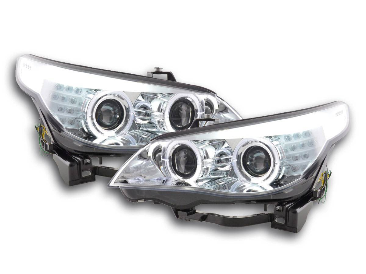 Auto And Motocycle Auto Lighting Headlights Angel Eyes Led Xenon Headlight Bmw 5 Series E60 E61 Year 05 08 Chrome Only For Right Hand Drive As In England