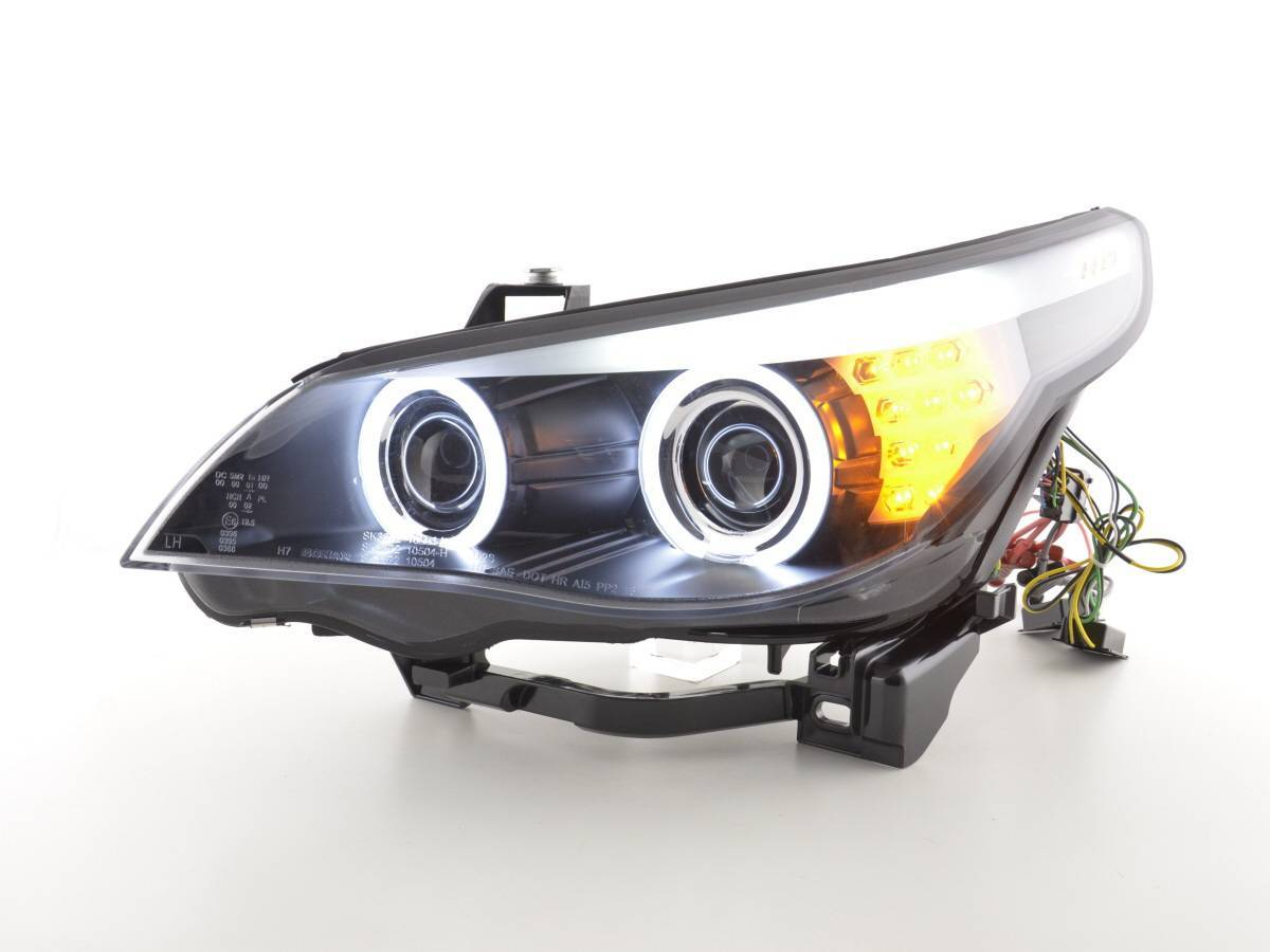 Auto And Motocycle Auto Lighting Headlights Angel Eyes Ccfl Xenon Headlight Bmw 5 Series E60 E61 Year 03 04 Black Only For Right Hand Drive As In England